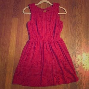 Open Backed Red Lace Dress